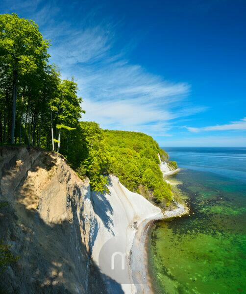Germany, Mecklenburg-Western Pomerania, Rügen Island, Jasmund National Park, view from the high shore to the Baltic Sea and the chalk cliffs, spring, beech forest on the steep bank, fresh green