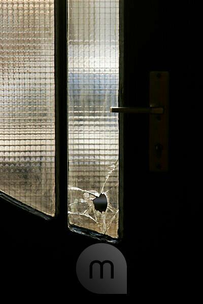 Doorway, door, broken glass,