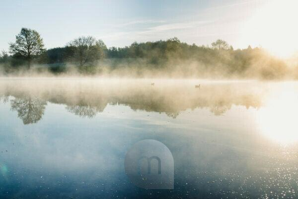 Sunrise and fog on Obersee Reservoir in Bielefeld
