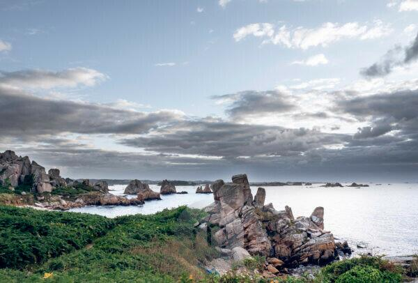 Rock formations on the coast of Plougrescant Peninsula, Brittany