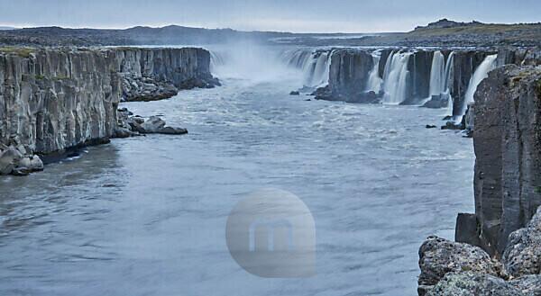 ringroad, waterfalls in Jökulsárgljúfur canyon in the Northern Region in Iceland