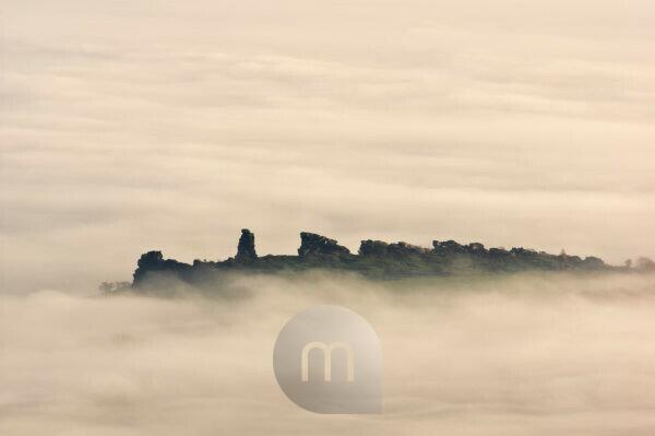 Europe, Germany, Saxony-Anhalt, Harz Nature Park, Teufelsmauer (Devil's Wall) Rock Formation near Neinstedt in the morning mist