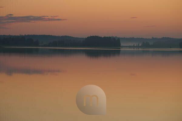 Lake landscape in the sunrise colors, Finland