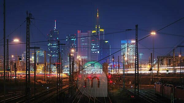 Frankfurt am Main skyline and main railway station to midnight, Hesse, Germany