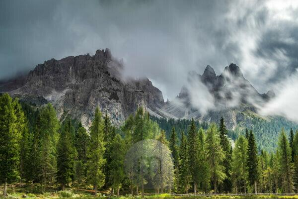 Blick vom Antornosee auf Cadini di Misurina, Naturpark Drei Zinnen, Dolomiten, Südtirol, Italien