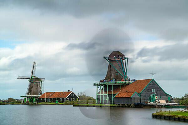 Windmills in Zaanse Schans, Zaanstad Municipality, Holland, Netherlands