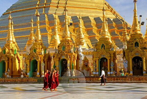 Marble platform with altars in front of the Shwedagon Pagoda, Yangon, Myanmar