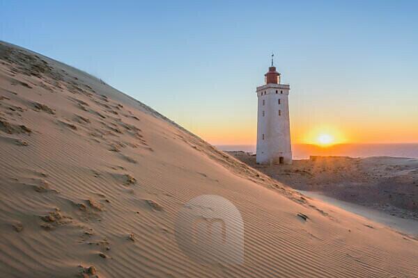 Lighthouse and Dune Rubjerg Knude at Sunset, Løkken, Lokken, North Jutland, Denmark