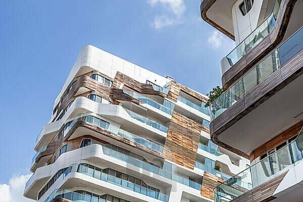 Modern architecture, house facade in Milan