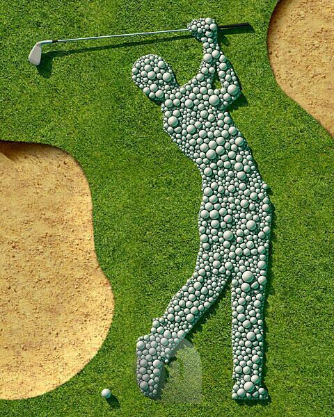 Golf course, grass, bunker, Detail, Symbol, golfer, balls, golf balls, golf clubs,
