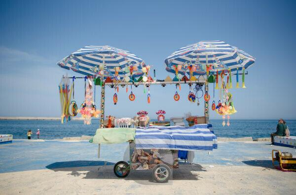 Sale stand on the beach of Palermo, Sicily
