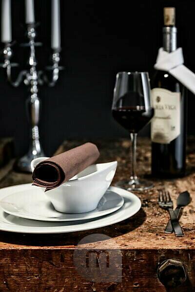 Stilllife, table, candlestick, wine bottle, napkin,