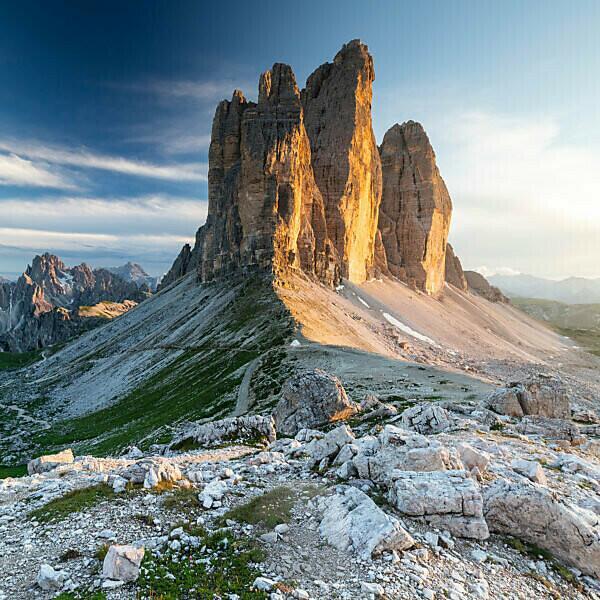 Europe, Italy, Alps, Dolomites, Mountains, Tre Cime di Lavaredo. View from Forcella di Lavaredo. Lavaredo Pass - Sexten Dolomites
