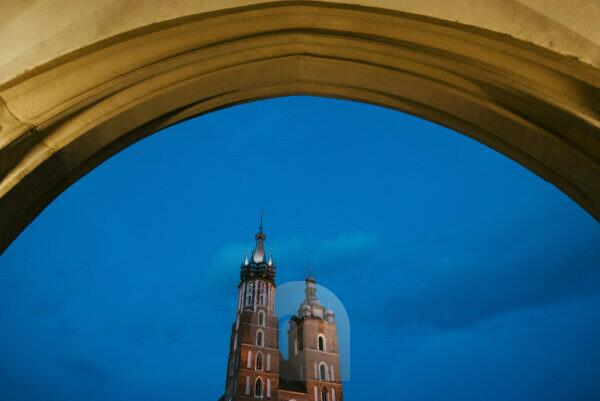 At the Polish Cloth Hall and the Basilica in the center of Krakow, Poland