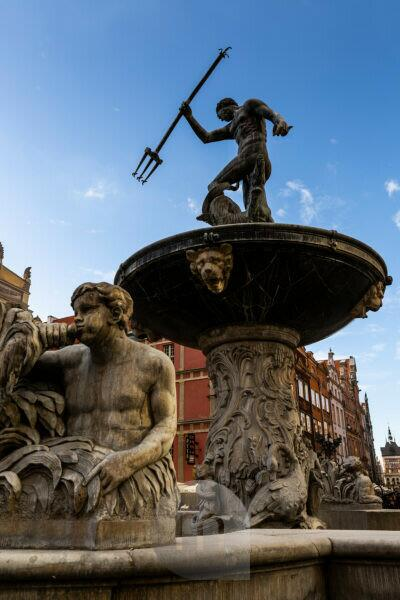 Europe, Poland, Pomerania, Gdansk / Danzig, Neptun fountain