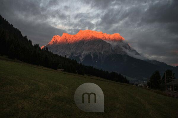 Austria, Tyrol, Zugspitze in the last evening light