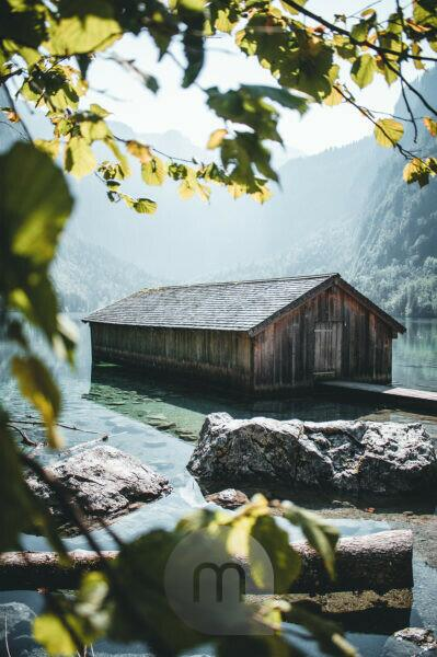 "Norway, Berchtesgadener country, boathouse at the lake ""Obersee"" (Königssee)"