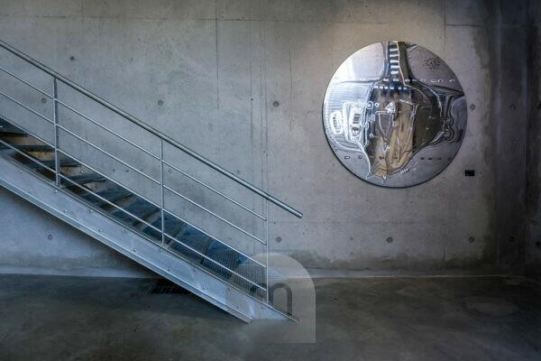 Stairs and plate, L'Aspirateur, Narbonne, Aude Department, Occitanie Region, France