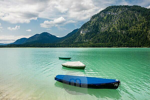 Fishing Boats on Sylvenstein Reservoir, Bavaria, Germany, 2016