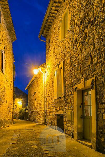 Montclus, Gard, France, old town of Montclus at dusk