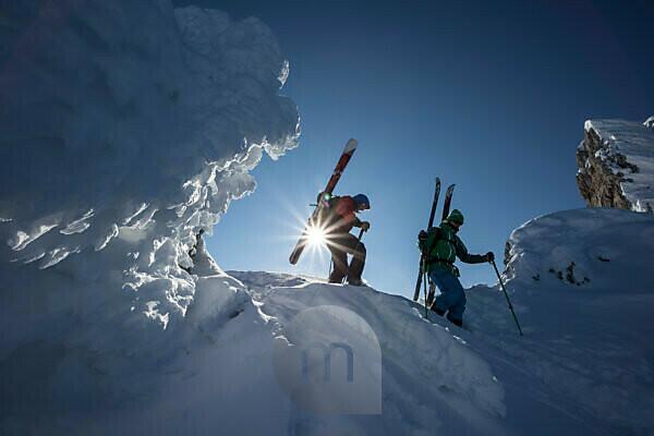 Descent on ski tour in Dammkar, near Mittenwald, Karwendel, Bavaria, Germany