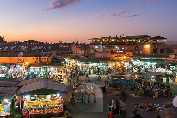 Morocco, Marrakech, Medina, Place Djemaa El Fna, blue hour
