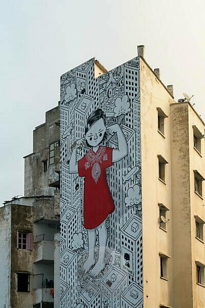 Marokko, Casablanca, Fassade, Wandbild, Symbolbild Trotz oder Lärmschutz