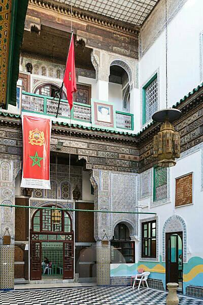Marokko, Fes, Schule der pädagogischen Renaissance, Innenhof