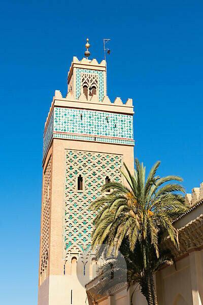 Marokko, Marrakesch, Kasbah-Moschee, Minarett