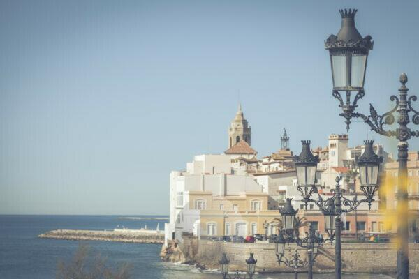 On the beach of Sitges, near Barcelona, __Catalonia, Spain, Europe