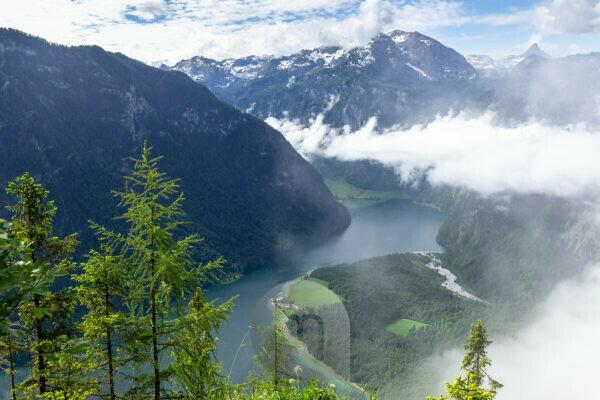 Germany, Bavaria, Berchtesgaden region, Berchtesgaden, view from the Archenkanzel to the Königssee