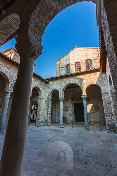 Porec, Parenzo, Euphrasian Basilica, arcades and tower view, unesco world heritage site, Istria, Adriatic coast, Croatia