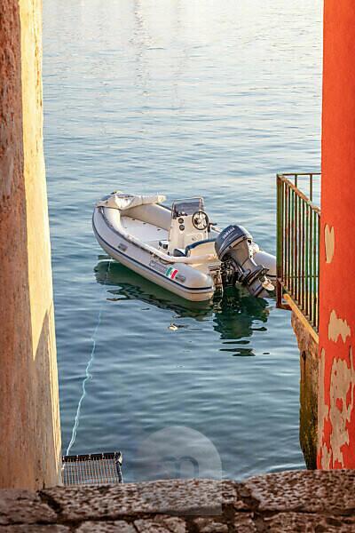 Rovinj, Rovigno, glimpses to the sea between the narrow streets of the old town, Istria, Adriatic coast, Croatia
