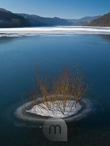 Europe, Germany, Hesse, Vöhl, Kellerwald-Edersee National Park, tree island in the frozen Edersee, winter atmosphere with blue sky