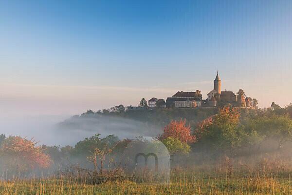 Sunrise at the Leuchtenburg, fog, autumn, Thuringia, Germany