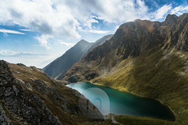Hike to Seefeldspitze, view to Seefeldsee, Valser Tal, Pfunderer Berge, South Tyrol, Italy