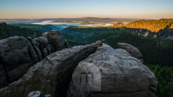 Morning mood in the west, Elbsansteingebirge, National Park Saxon Switzerland, Saxony, Germany