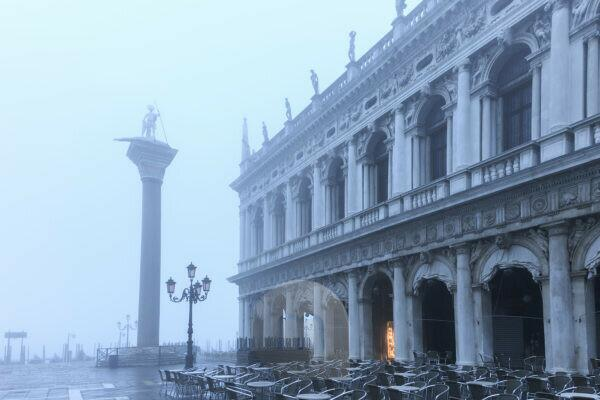 Piazzetta,library of San Marco in the fog,Venice,Italy