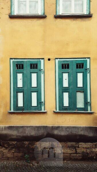 green closed shutters