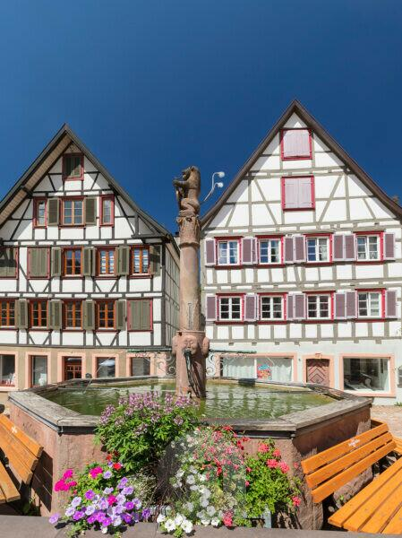 Fountain at the market square of Schiltach, Black Forest, Kinzigtal, Baden-Wurttemberg, Germany