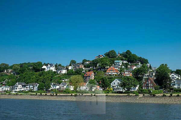 Hamburg Blankenese: View from the Elbe to the Süllberg