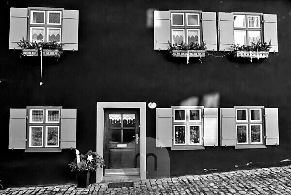 Haustür, Hausfassade, Dinkelsbühl, Mittelfranken, Franken, Bayern, Deutschland