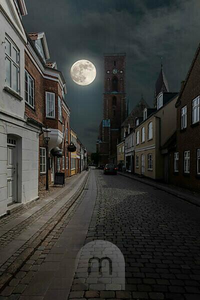Dänemark, Jütland, Ribe (älteste Stadt Dänemarks), Straßenszene in der Altstadt.