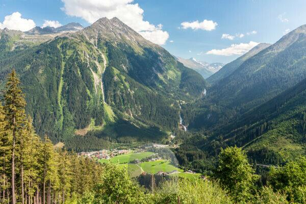 View to the Krimml waterfalls from the Gerlos alpine road, salzburg land, austria, europe