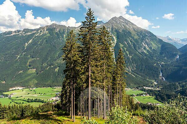 View to the Krimml waterfalls from the Gerlos alpine road, salzburg land, austria, europe