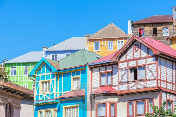 Clourful traditional houses, Valparaiso, Chile, South America