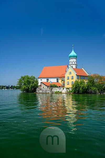 Deutschland, Bayern, Schwaben, Bodensee, Wasserburg, Pfarrkirche St. Georg