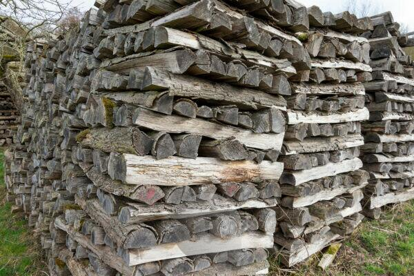 Old firewood is stacked on a meadow.