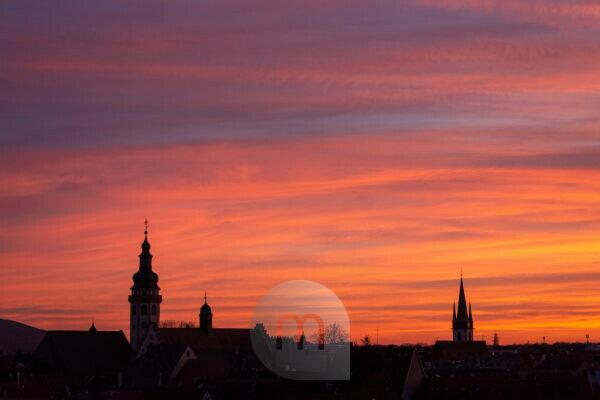 Germany, Baden-Württemberg, Karlsruhe, view of the city silhouette of Durlach the largest district of Karlsruhe.
