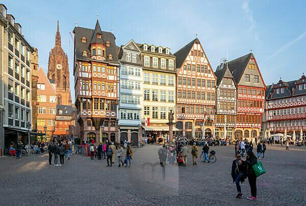 Germany, Hesse, Frankfurt, reconstructed houses on Römerberg.